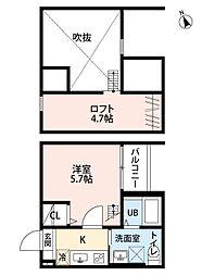 愛知県名古屋市中川区松葉町4丁目の賃貸アパートの間取り