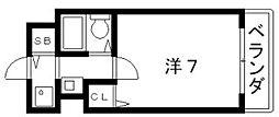 大阪府大阪市阿倍野区西田辺町1丁目の賃貸マンションの間取り