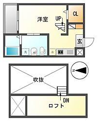愛知県名古屋市南区豊1の賃貸アパートの間取り