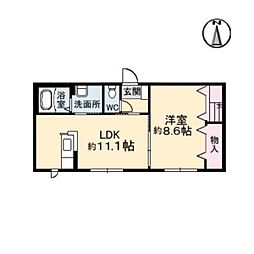 沖洲清流荘[106号室]の間取り