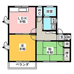 エトワールナカムラB[1階]の間取り