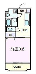 東京都八王子市寺田町の賃貸マンションの間取り
