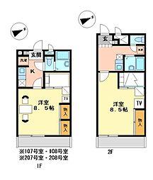 兵庫県相生市汐見台の賃貸アパートの間取り