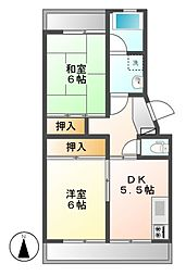 泰山ハイツ[2階]の間取り