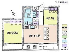 2LDK・専有面積65.64平米・バルコニー面積14.04平米