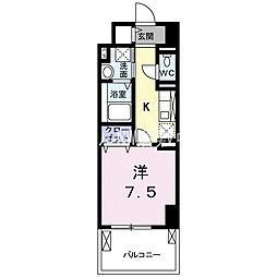 JR山陽本線 倉敷駅 徒歩12分の賃貸マンション 8階1Kの間取り