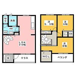 [テラスハウス] 三重県四日市市大井手2丁目 の賃貸【/】の間取り
