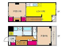 阪急神戸本線 王子公園駅 徒歩8分の賃貸マンション 2階2LDKの間取り