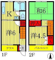 [テラスハウス] 千葉県松戸市新松戸7丁目 の賃貸【千葉県 / 松戸市】の間取り
