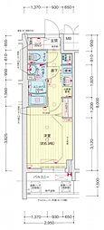 名古屋市営名城線 東別院駅 徒歩3分の賃貸マンション 3階1Kの間取り