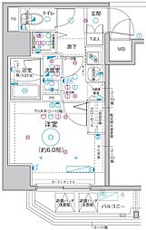 Le'a横濱関内弐番館 10階1Kの間取り
