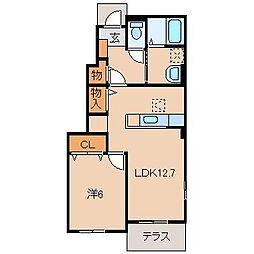 和歌山県和歌山市布施屋の賃貸アパートの間取り