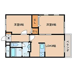 奈良県生駒郡斑鳩町龍田南5丁目の賃貸アパートの間取り