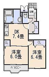 リアフォレストサガラ[2階]の間取り