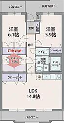 静岡県三島市徳倉4丁目の賃貸マンションの間取り