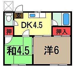 第一岡田ハイツ[2階]の間取り