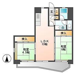 中駒九番団地8号棟[3階]の間取り