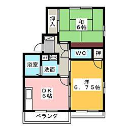 青清ハイツB[2階]の間取り