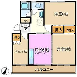 神奈川県横浜市緑区鴨居3丁目の賃貸マンションの間取り