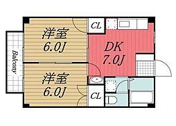 千葉県市原市国分寺台中央6丁目の賃貸アパートの間取り