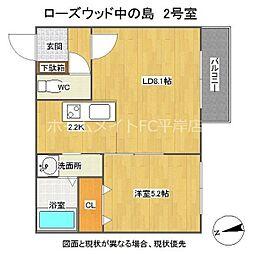 Rose Wood NAKANOSHIMA 3階1LDKの間取り