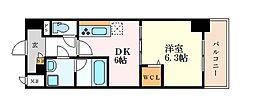 名古屋市営桜通線 高岳駅 徒歩5分の賃貸マンション 6階1DKの間取り