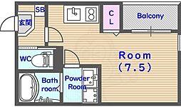 京都市営烏丸線 くいな橋駅 徒歩7分の賃貸アパート 1階ワンルームの間取り
