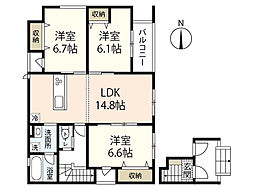 JR山陽本線 広島駅 徒歩23分の賃貸アパート 3階3LDKの間取り