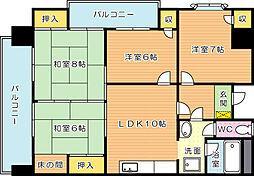 メゾンモンブラン穴生(分譲賃貸)[3階]の間取り