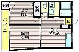 東京都調布市若葉町1の賃貸マンションの間取り