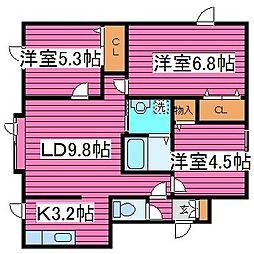 北海道札幌市北区篠路八条6丁目の賃貸アパートの間取り