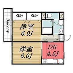 JR成田線 成田駅 徒歩10分の賃貸マンション 1階2DKの間取り