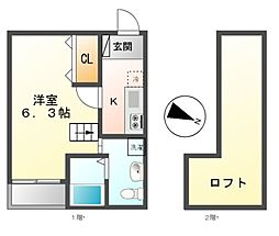 ビルーチェ B[2階]の間取り
