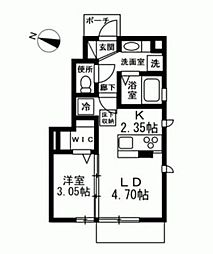 東急東横線 都立大学駅 徒歩9分の賃貸アパート 1階1DKの間取り