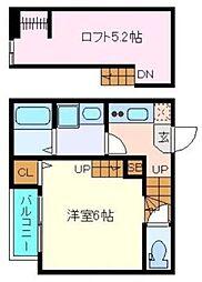 仙台市営南北線 北仙台駅 徒歩12分の賃貸アパート 2階1Kの間取り