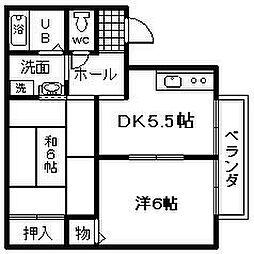 カーサHANBEI[103号室]の間取り