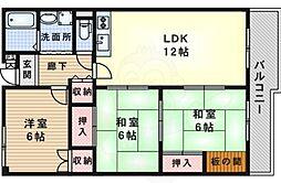 レジデンス吉川5号棟 4階3LDKの間取り