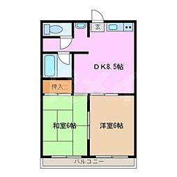 三重県名張市松崎町の賃貸アパートの間取り
