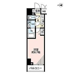 プレール・ドゥーク文京湯島 6階1Kの間取り