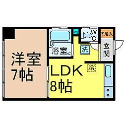 愛知県名古屋市中川区南八熊町の賃貸マンションの間取り