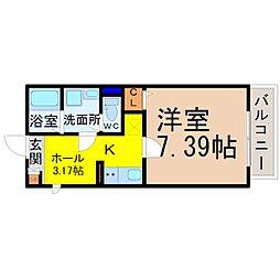 Gallery庄内通(ギャラリー庄内通) 2階1SKの間取り