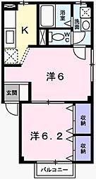兵庫県姫路市飾磨区鎌倉町の賃貸アパートの間取り