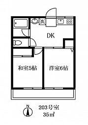126701 ガーデン深沢[203号室]の間取り