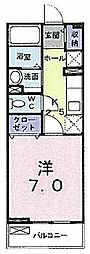大阪府枚方市田口1の賃貸アパートの間取り