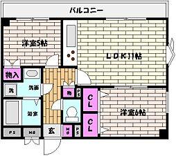 兵庫県神戸市東灘区魚崎北町4丁目の賃貸マンションの間取り