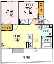 D-room大福 1階2LDKの間取り