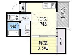 ルミエール西代B棟 1階1DKの間取り