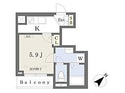 東京メトロ副都心線 池袋駅 徒歩12分の賃貸マンション 2階1Kの間取り