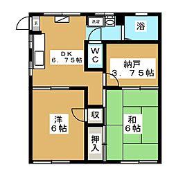 富士見ハイムB[2階]の間取り