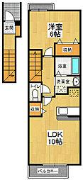 ソレイユ北島2 D[202号室]の間取り
